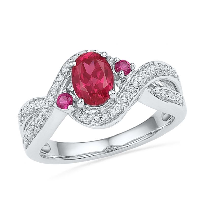 Buy Ruby Diamond Finger Ring Code-rf101054-lru-lps-ss online