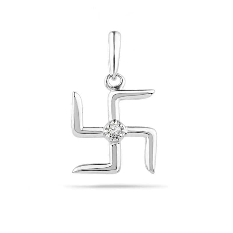 Buy Jpearls Swastik Diamond Pendant online