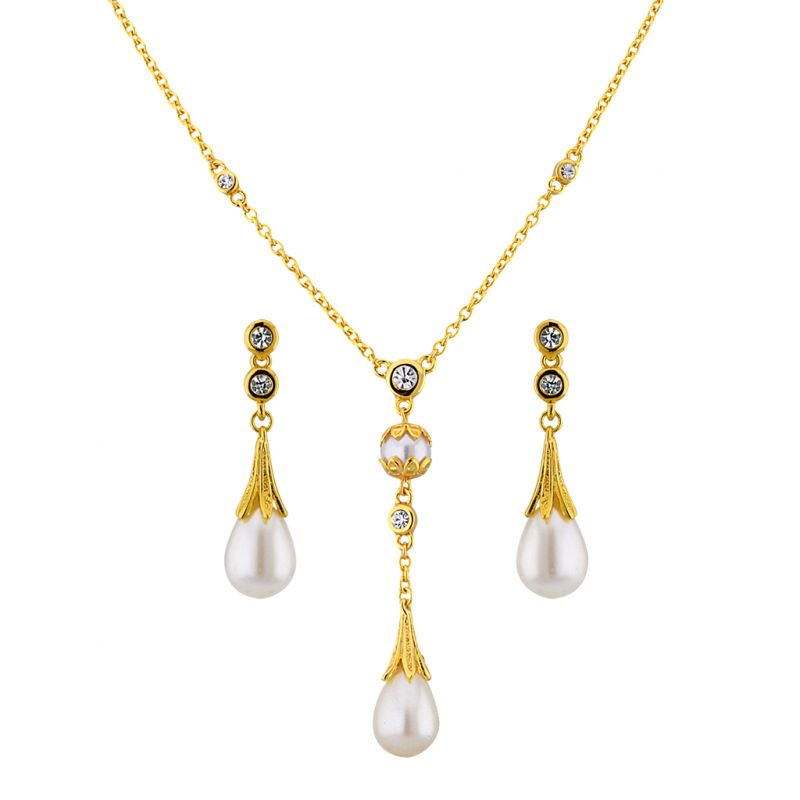 Buy Sri Jagdamba Pearls Cz Elegant Pendant Set Code 8723 online