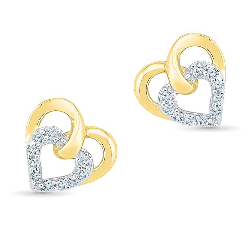 Buy Sri Jagdamba Pearls Dual Heart Diamond Earring-ef022001 online