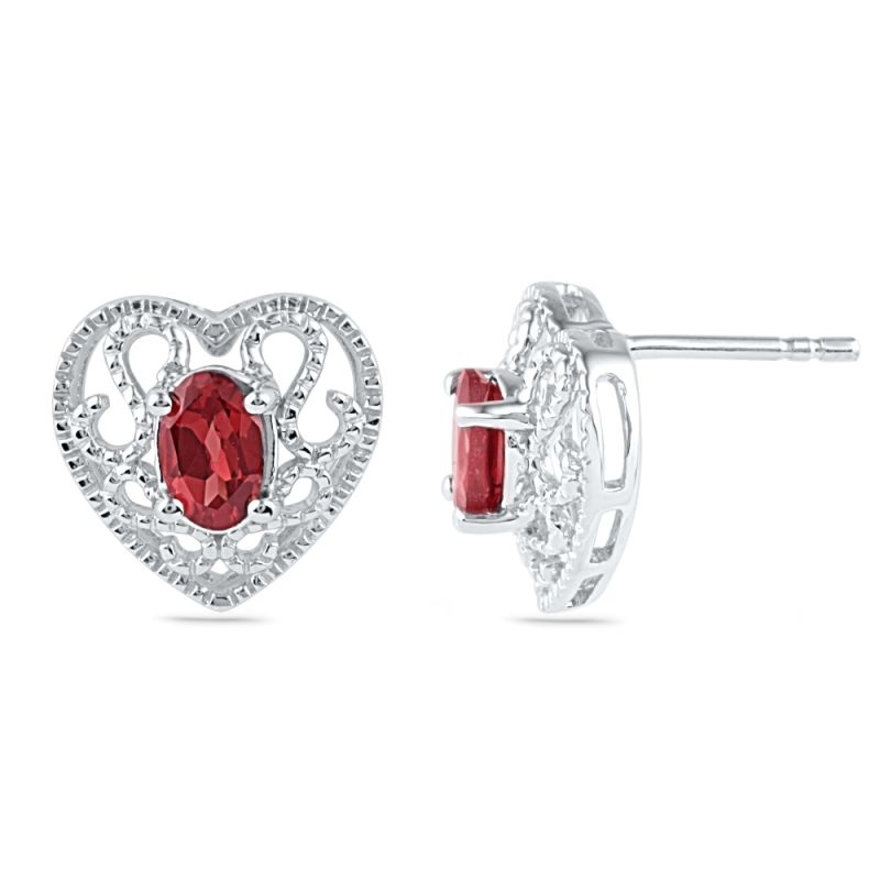 Buy Jpearls Valentines Day Special Princess Heart Ruby Earrings online