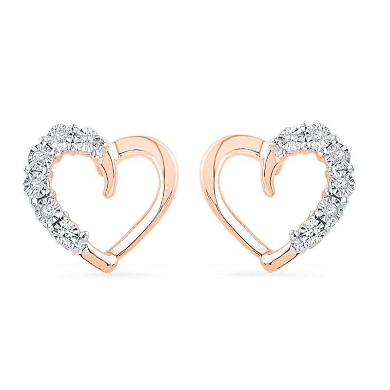 Jpearls 8pc Rose Gold Diamond Earrings Online
