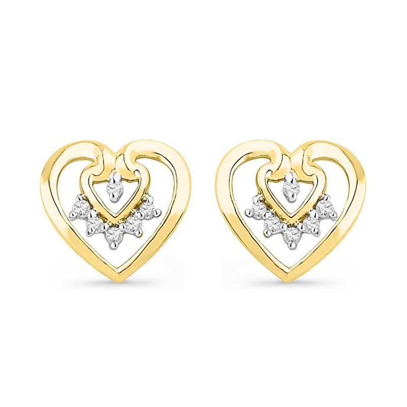 Buy Jpearls 18 Kt Gold Love Forever Diamond Earrings online