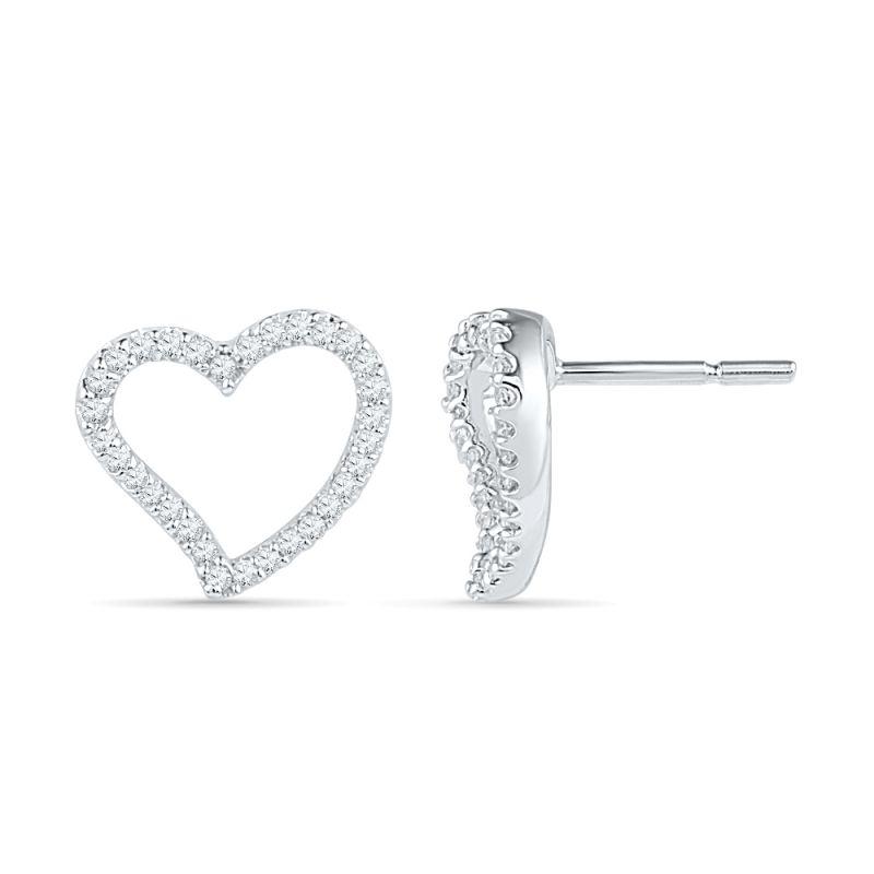 Buy Jpearls 925 Sterling Silver Heart Shaped Diamond Earrings online