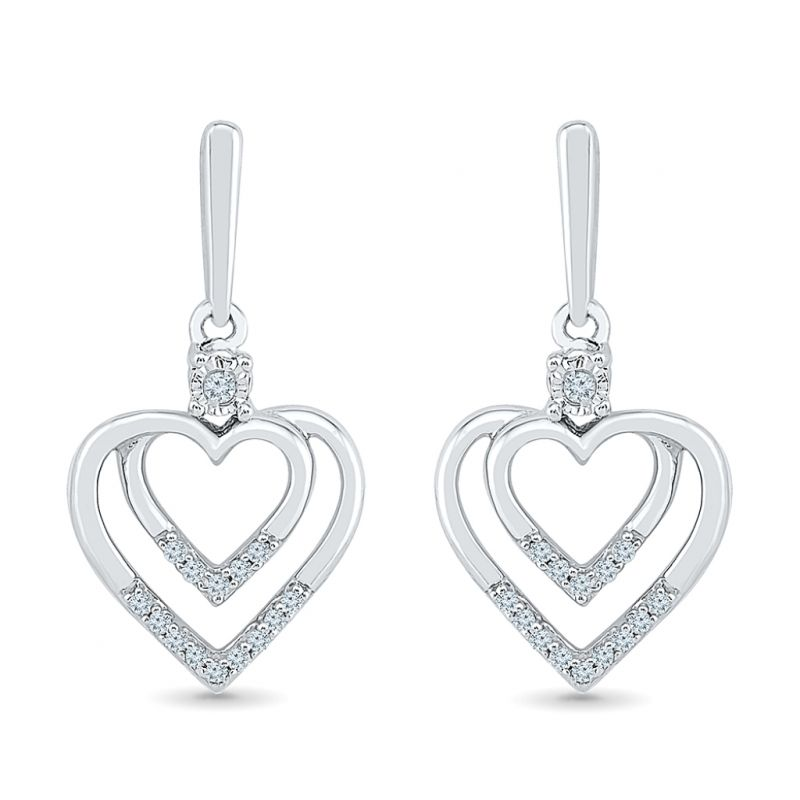 Buy Sri Jagdamba Pearls 0.16 Carat Heart In Heart Diamond Earrings-eh076055 online