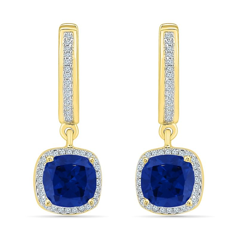 Buy Sri Jagdamba Pearls Blue Sapphire Diamond Earrings online