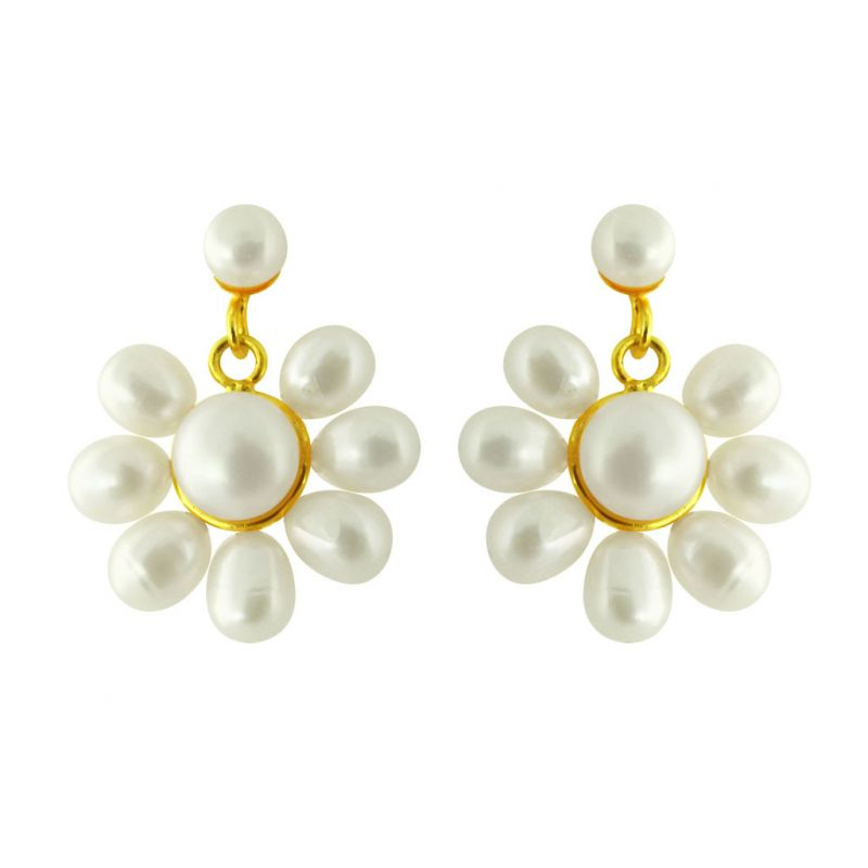 Buy Jpearls Flower Pearl Earrings online