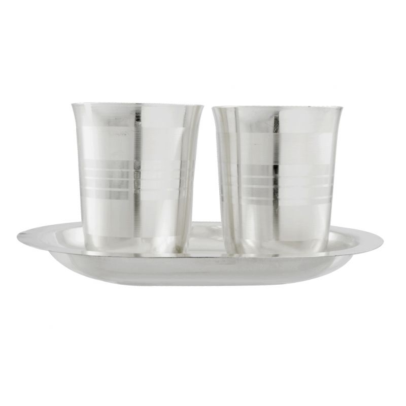 Buy Jpearls Diwali Special Silver Glass With Tray online