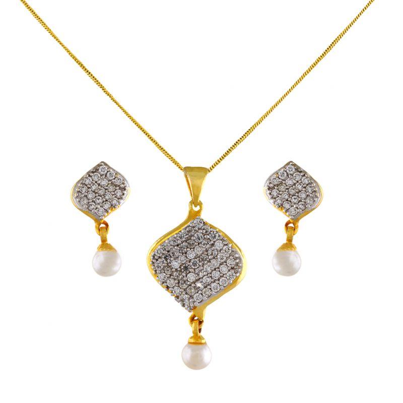 Buy Leafy Pearl Pendant Set Code-jpapl-17-051 online