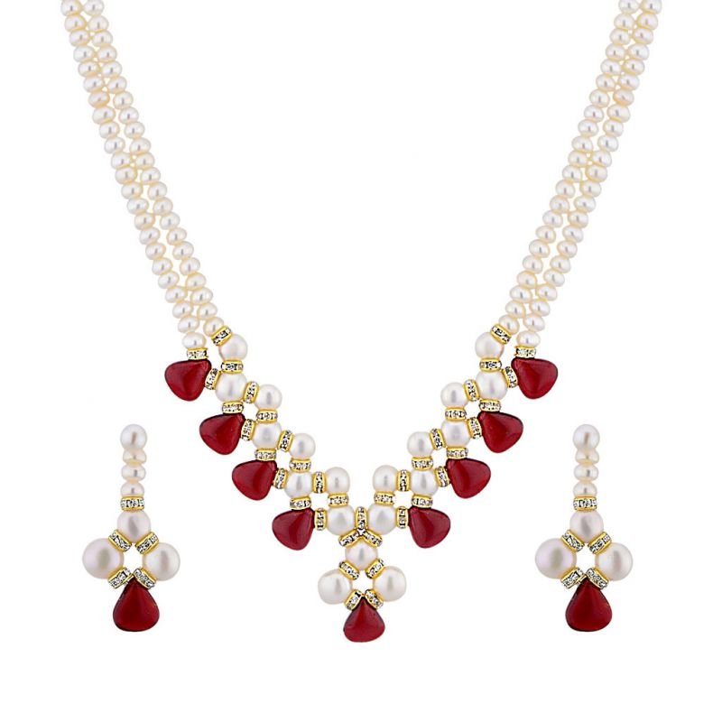 Buy Jpearls Charming 2 Line Necklace Set online