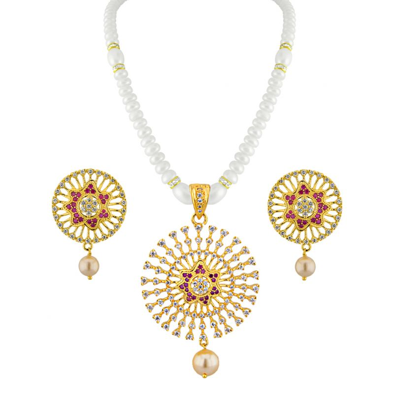 Buy Jpearls Golden Crown Pearl Pendant Set online