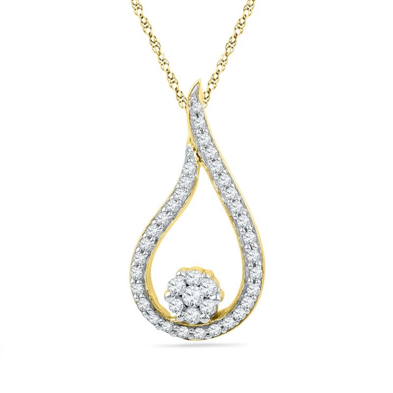 Buy Jpearls Droplet Diamond Pendant online