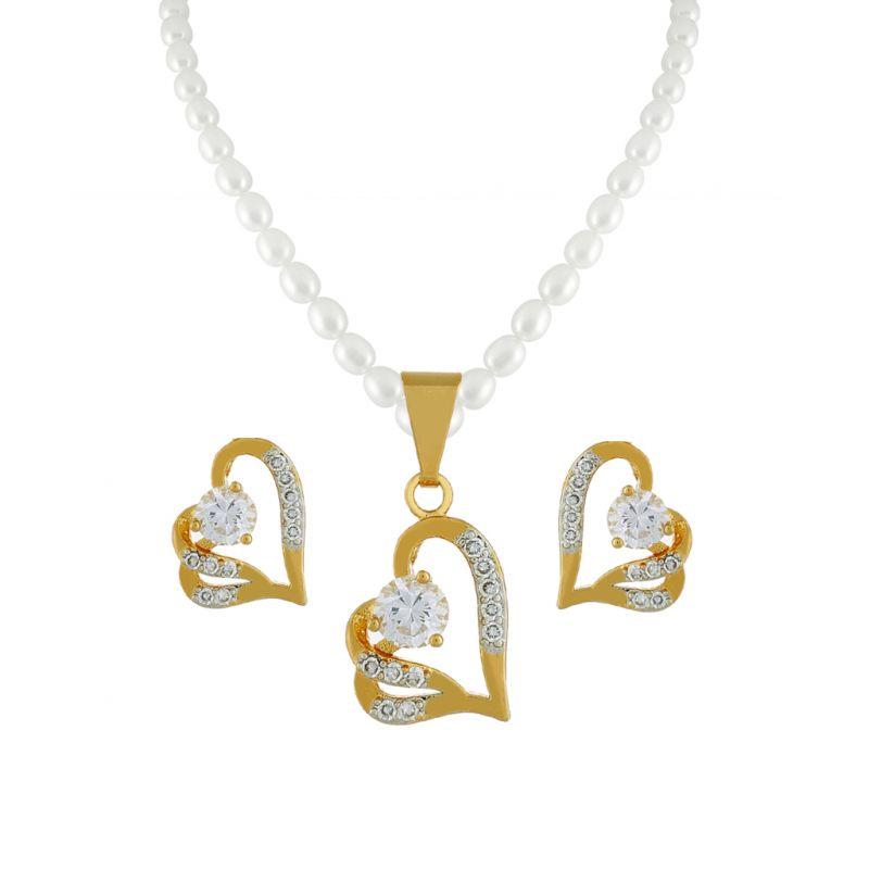 Buy Sri Jagdamba Pearls Cz Heart Pearl Pendant Set -jpjan-17-033 online