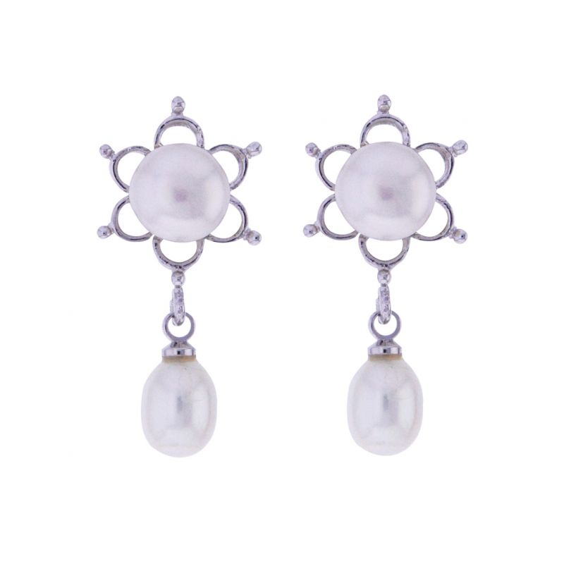 Buy Sri Jagdamba Pearls  White Pearls Drop Earrings online