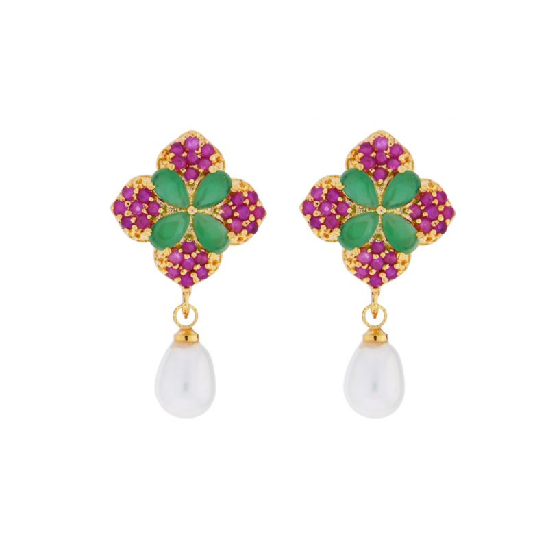 Buy Sri Jagdamba Pearls Ruby Emerald Semi Precious Stone Drop Earrings online