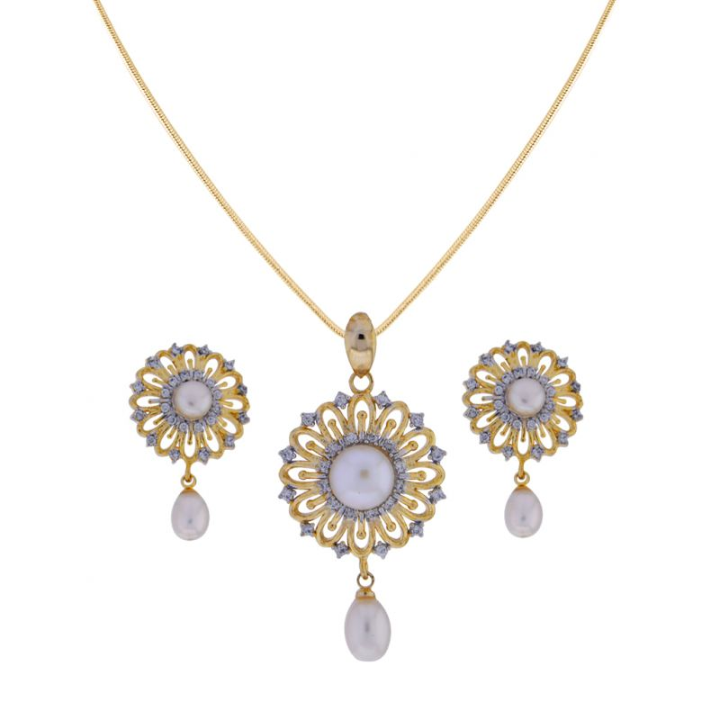 Buy Sri Jagdamba Pearls Graceful Pearl Drop Pendant Set online