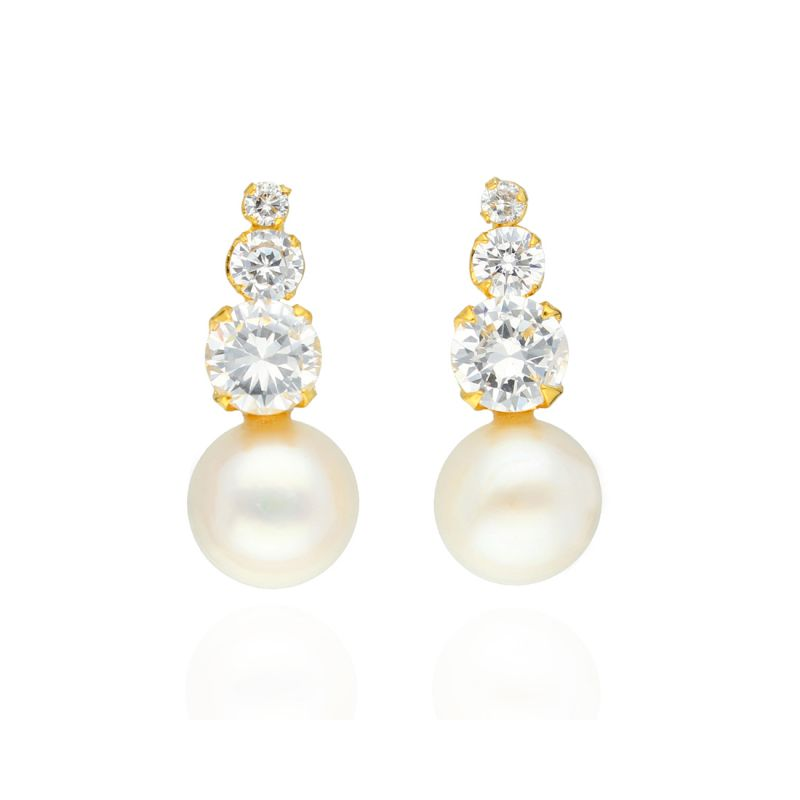Buy Triple Stone Drop Earrings By Sri Jagdamba Pearls online