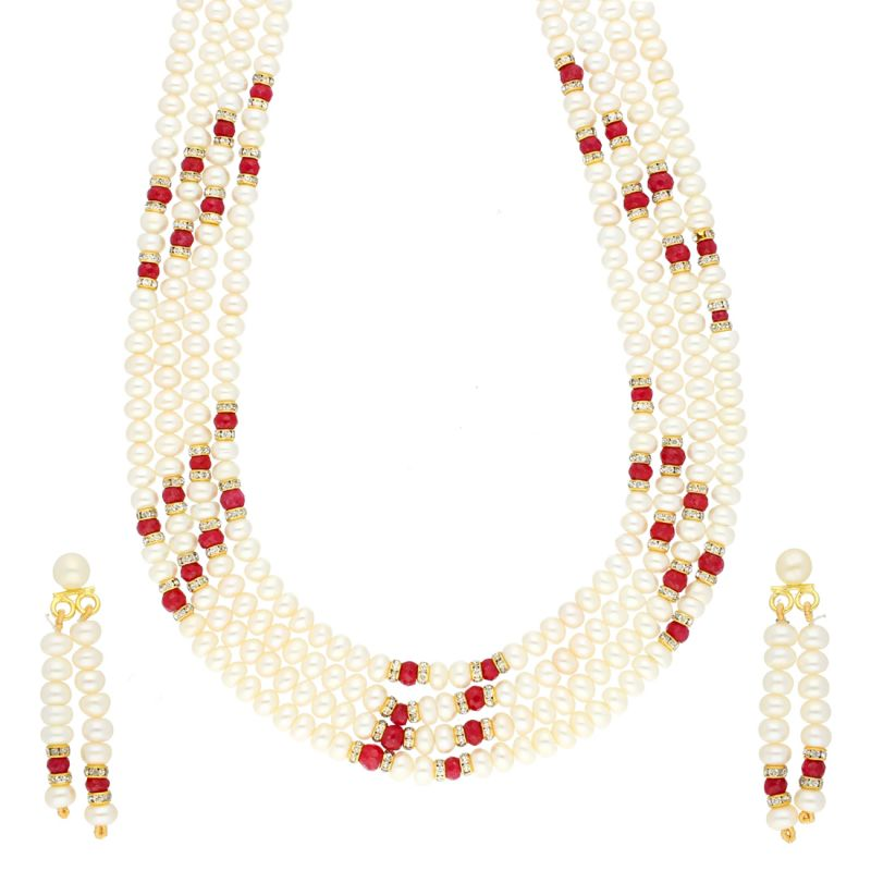 Buy Red Stone 4 Line Necklace By Sri Jagdamba Pearls (jpjun-18-441 ) online