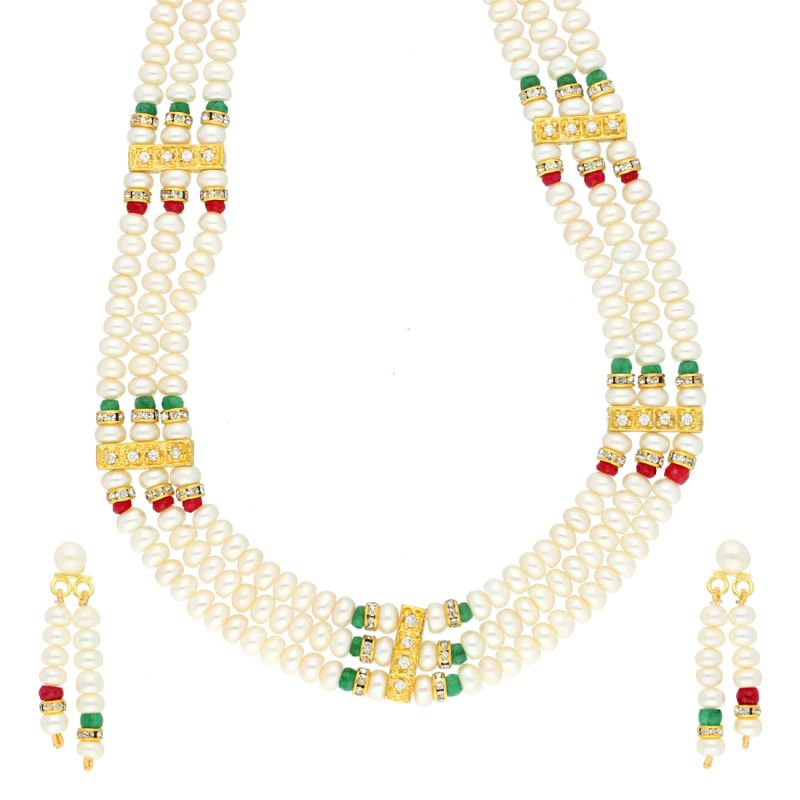 Buy 3 Line Designer Pearl Necklace By Sri Jagdamba Pearls (jpjun-18-443 ) online