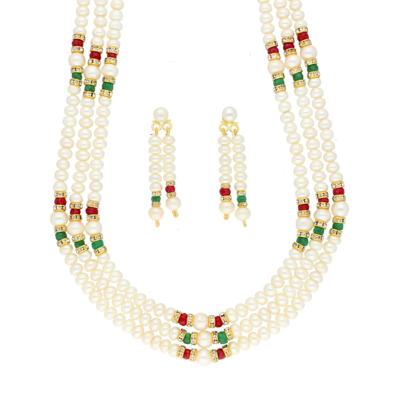 Buy 3 Line Fashionable Pearls Necklace By Sri Jagdamba Pearls (jpjun-18-444 ) online