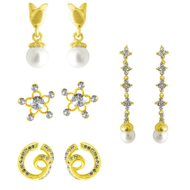 Buy Jpearls Combo Of 4 Earrings online