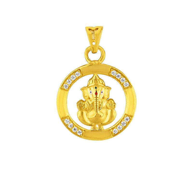 Buy Sri Jagdamba Pearls Cz Ganesha Gold Pendant Code Jpmay-16-082 online