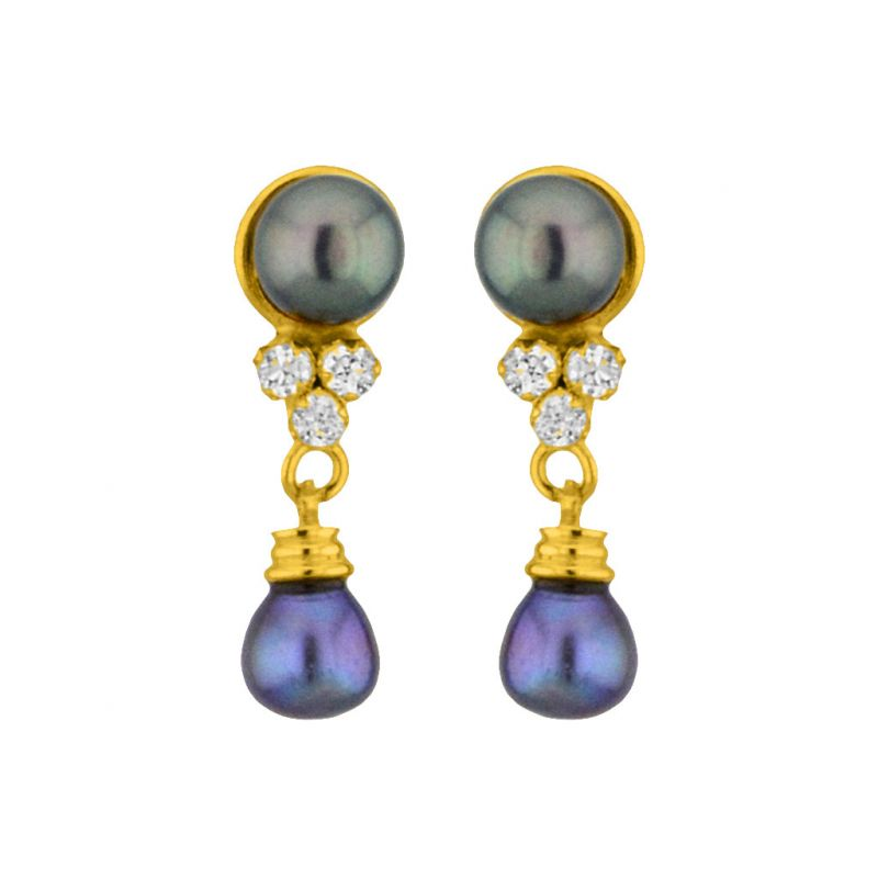 Buy Jpearls Grey Drop Pearl Earrings online