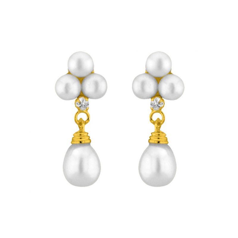 Buy Jpearls White Hangings Pearl Earrings online