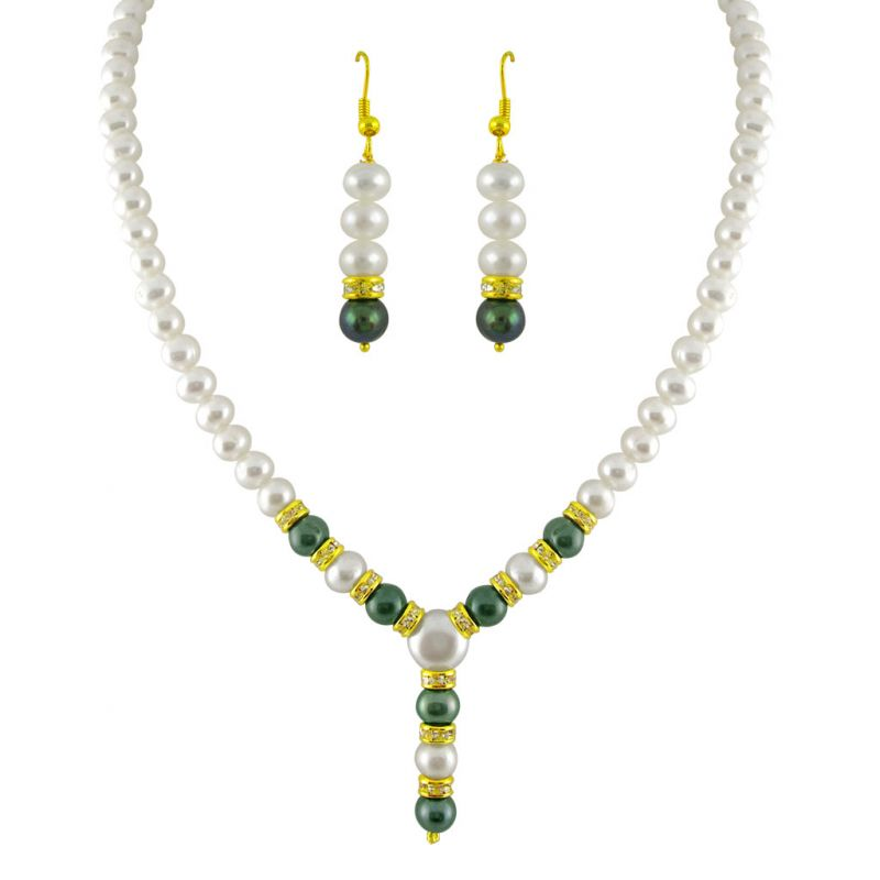 Buy Mother''s Day - Jagdamba Grey Drop Pearl Set online