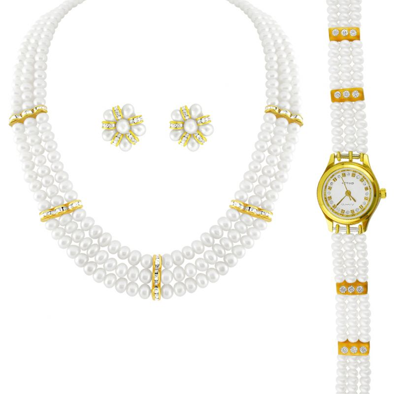 Buy Jpearls 3 String Pearl Necklace With A Watch online