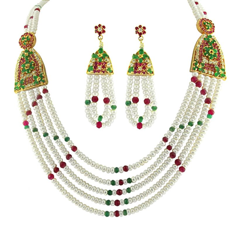 Buy Jpearls 4 String Ruby Emerald Pearls Necklace online