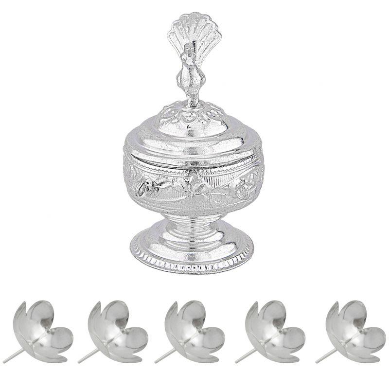Buy Sri Jagdamba Pearls Peacock Puja Kum Kum Dabbi Code Jpoct-15-022nf online