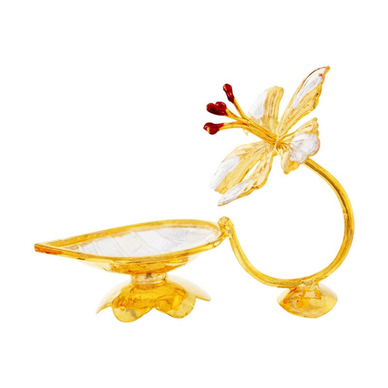 Buy Sri Jagdamba Pearls Flower Shape Golden Silver Diya online