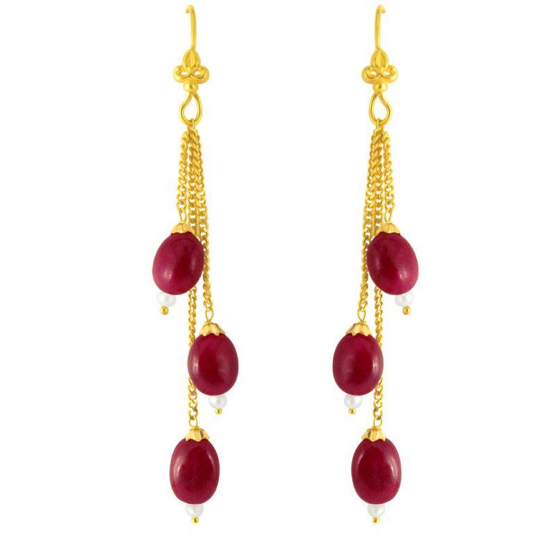 Buy Jpearls Ruby Gold Hangings online