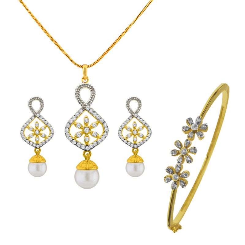 Buy Sri Jagdamba Pearls Flower Pendant Set With Bracelet -jpv-17-09 online