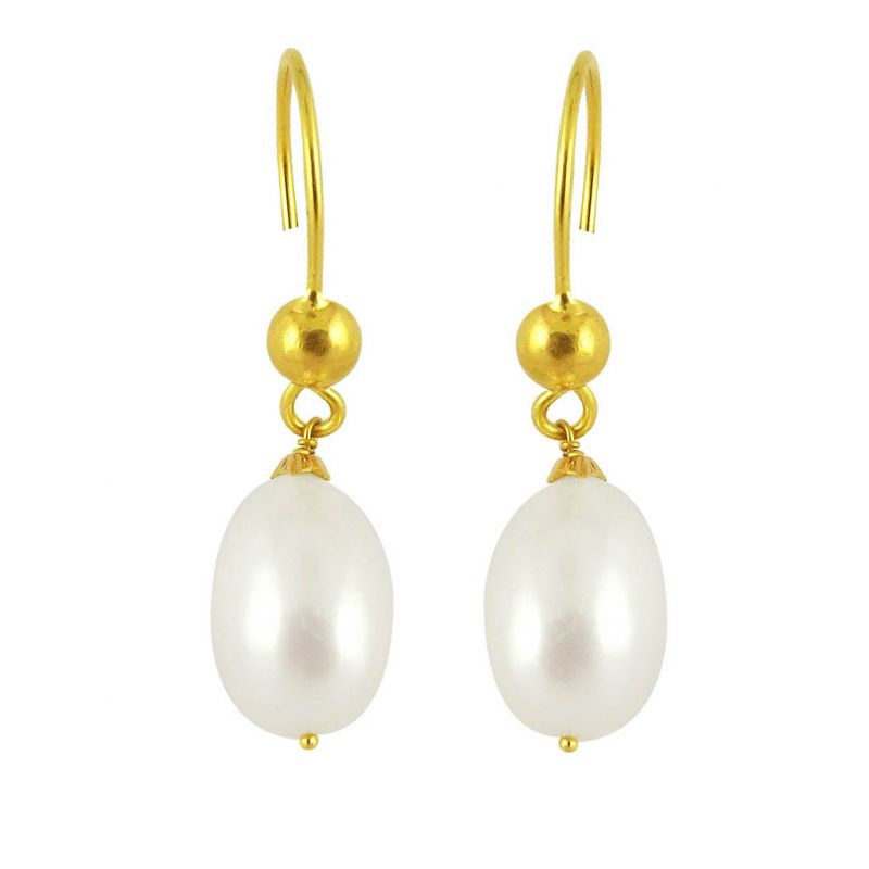 Buy Jpearls White Beauty Gold Pearl Earrings online