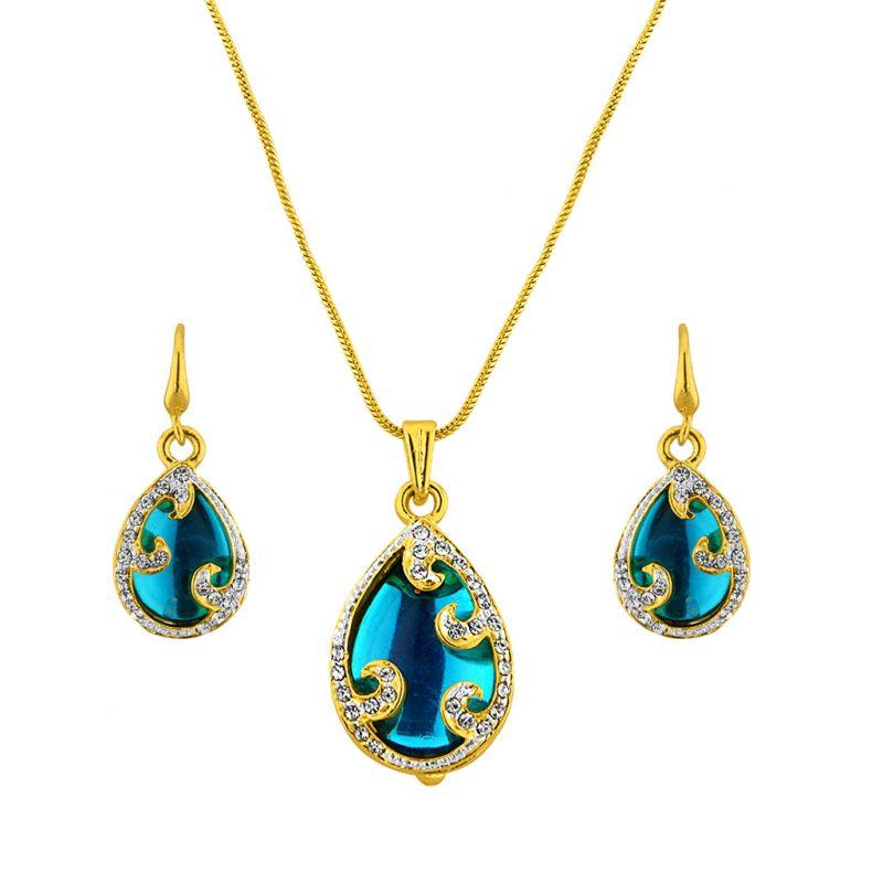 Buy Jpearls Aquamarine Pendant Set online