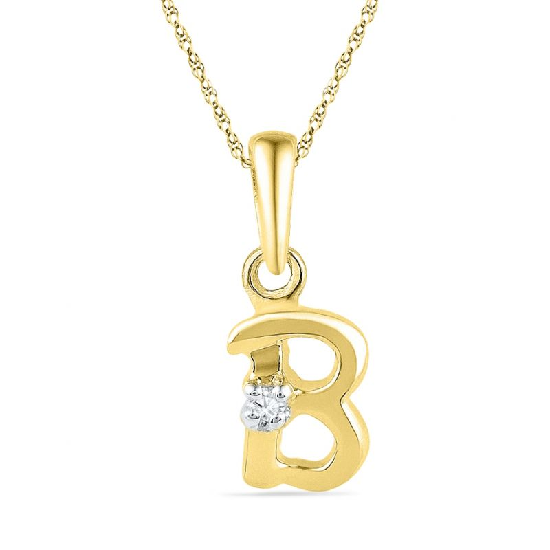 Buy Jpearls 18kt Gold Alphabet B Diamond Pendent online