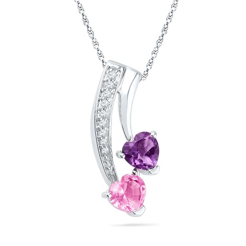 Buy Jpearls Purple Hearts Diamond Pendant online