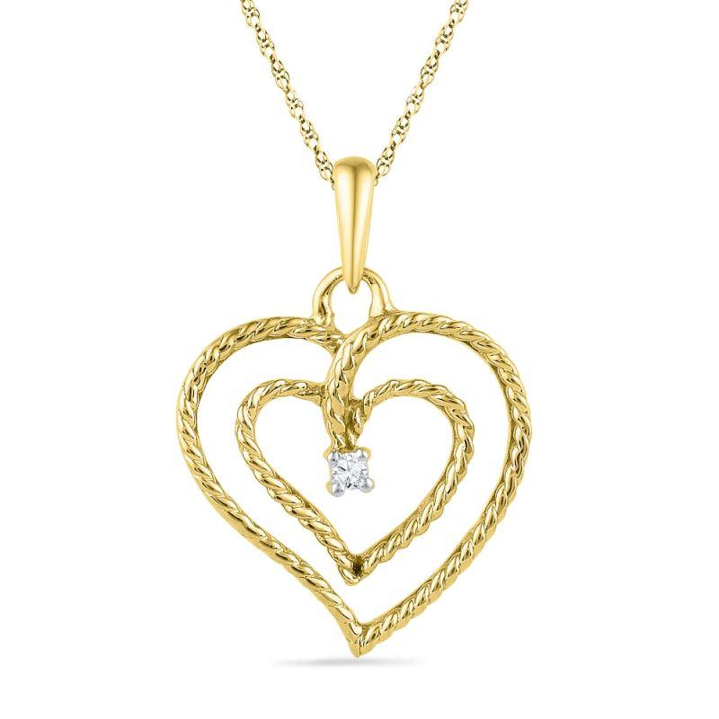 Buy Jpearls Valentines Special Double Heart Diamond Pendant online