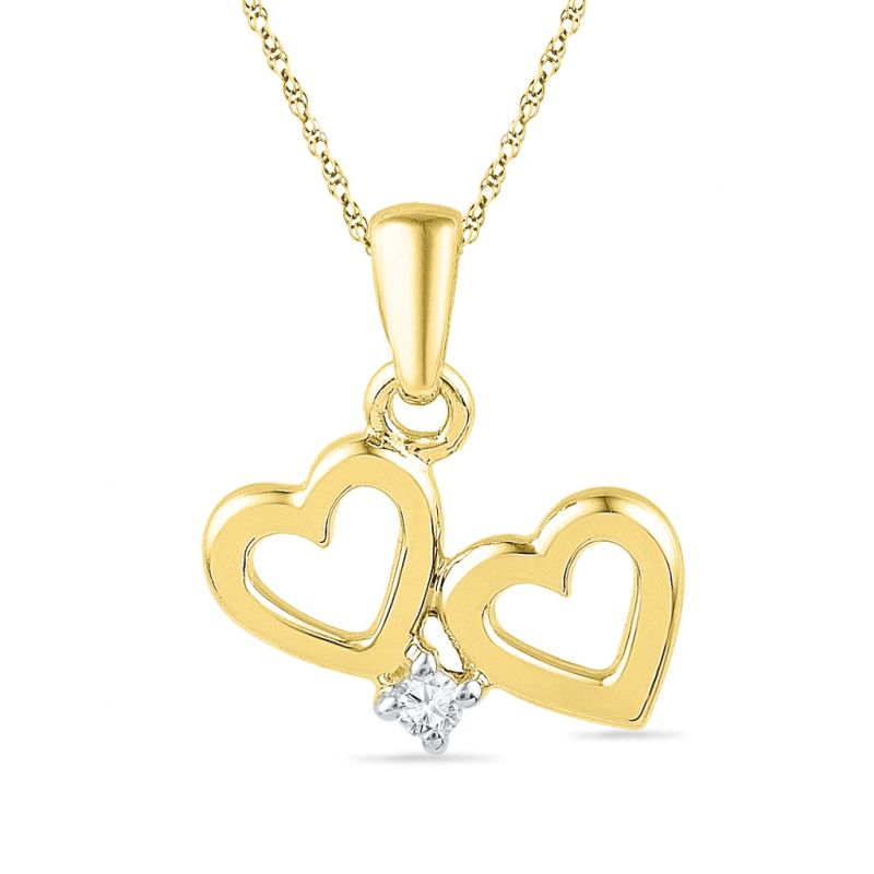 Buy Jpearls Dual Heart Diamond Pendant online