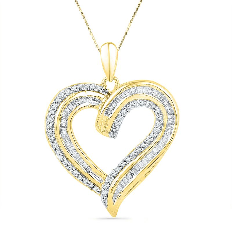 Buy Jpearls 18 Kt Gold Glittery Heart Diamond Pendant online