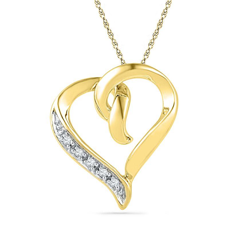 Buy Jpearls 18 Kt Gold Glossy Heart Diamond Pendant online