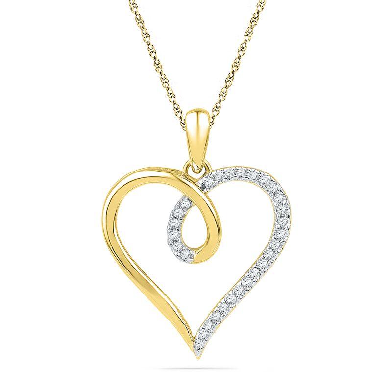 Buy Jpearls 18 Kt Gold Shiny Heart Diamond Pendant online