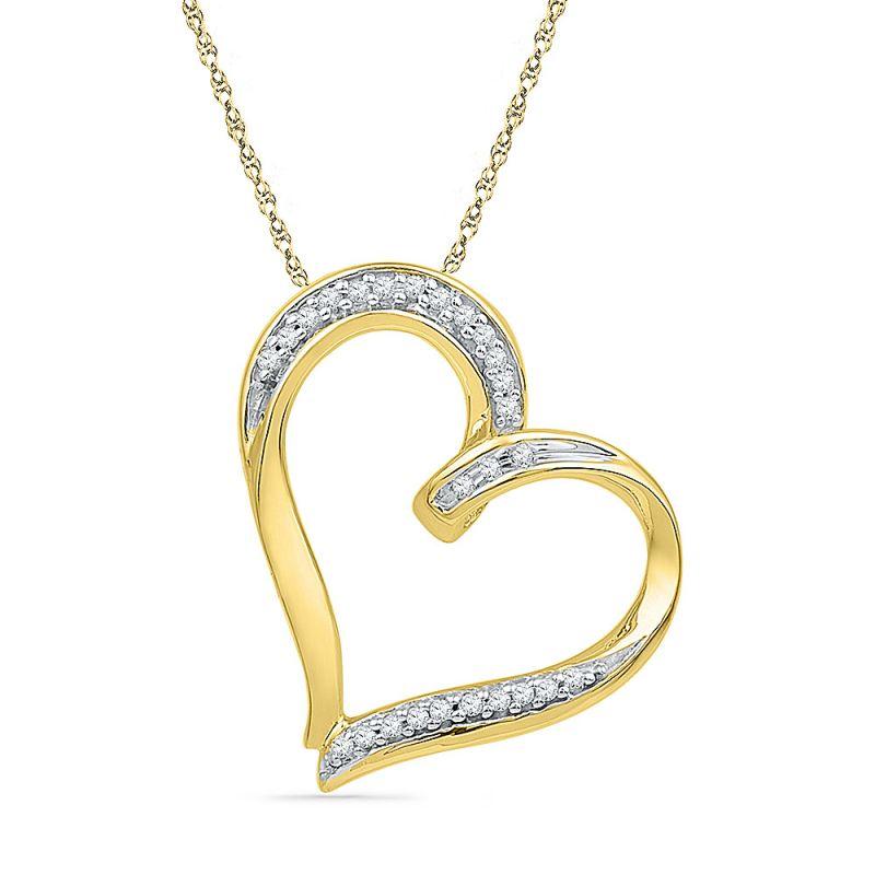Buy Jpearls 18 Kt Gold Gleam Heart Diamond Pendant online
