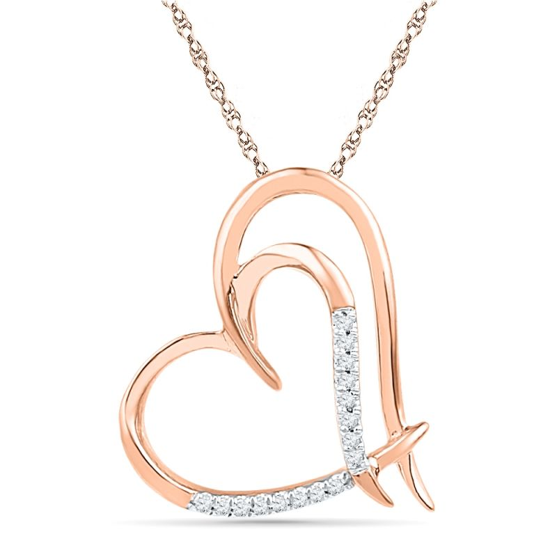 Buy Jpearls 18 Kt Rose Gold Bold Heart Diamond Pendant online