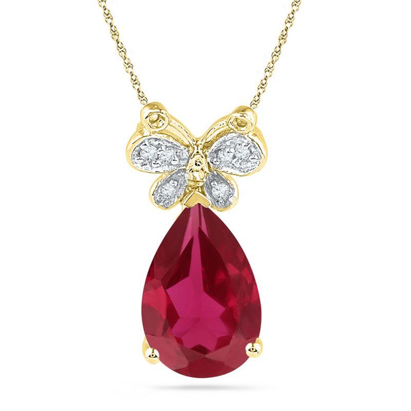 Buy Jpearls Ruby Drop Diamond Pendant online