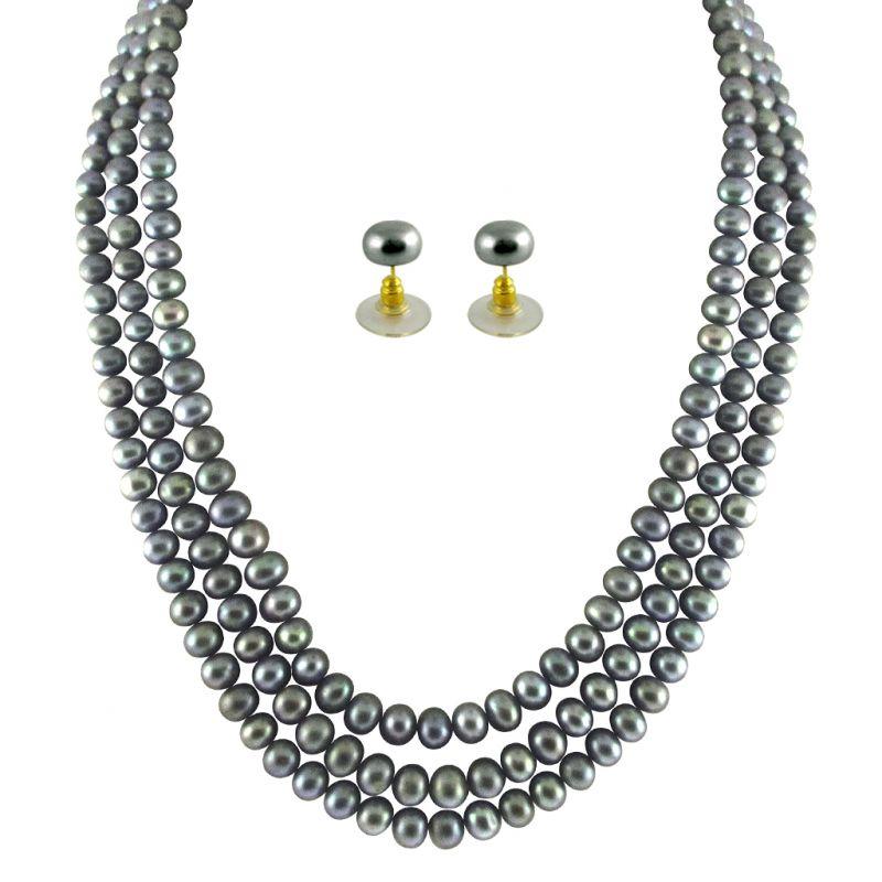 Buy Jpearls 3 String Grey Pearl Set online