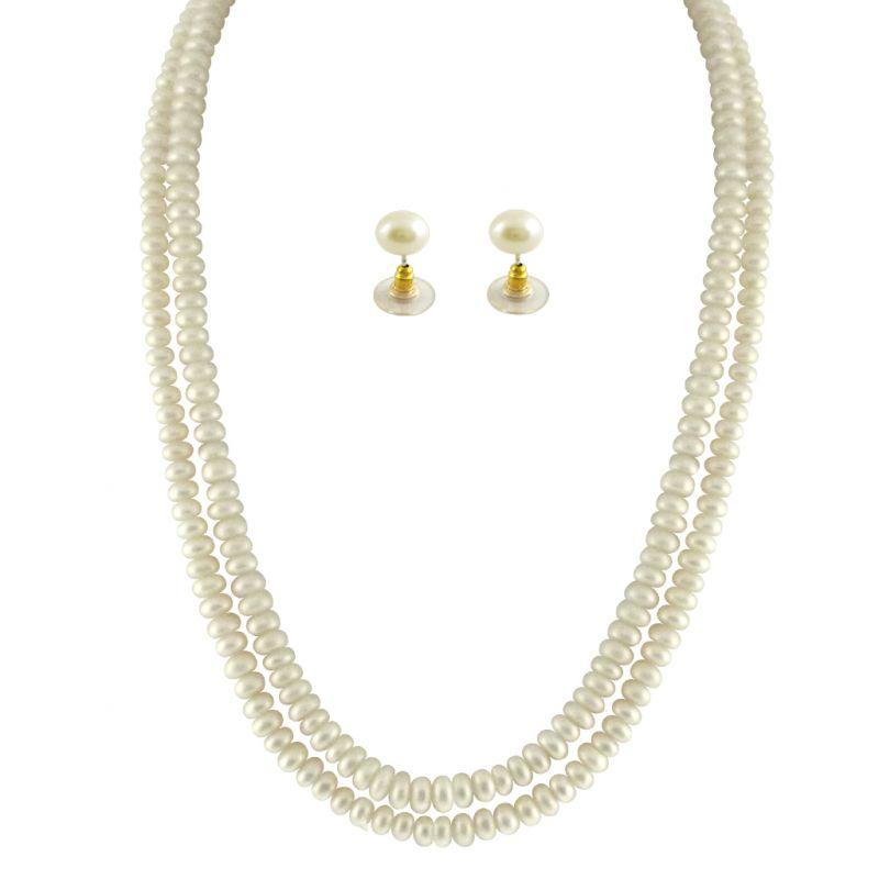 Buy Jpearls 2 String White Pearl Set online