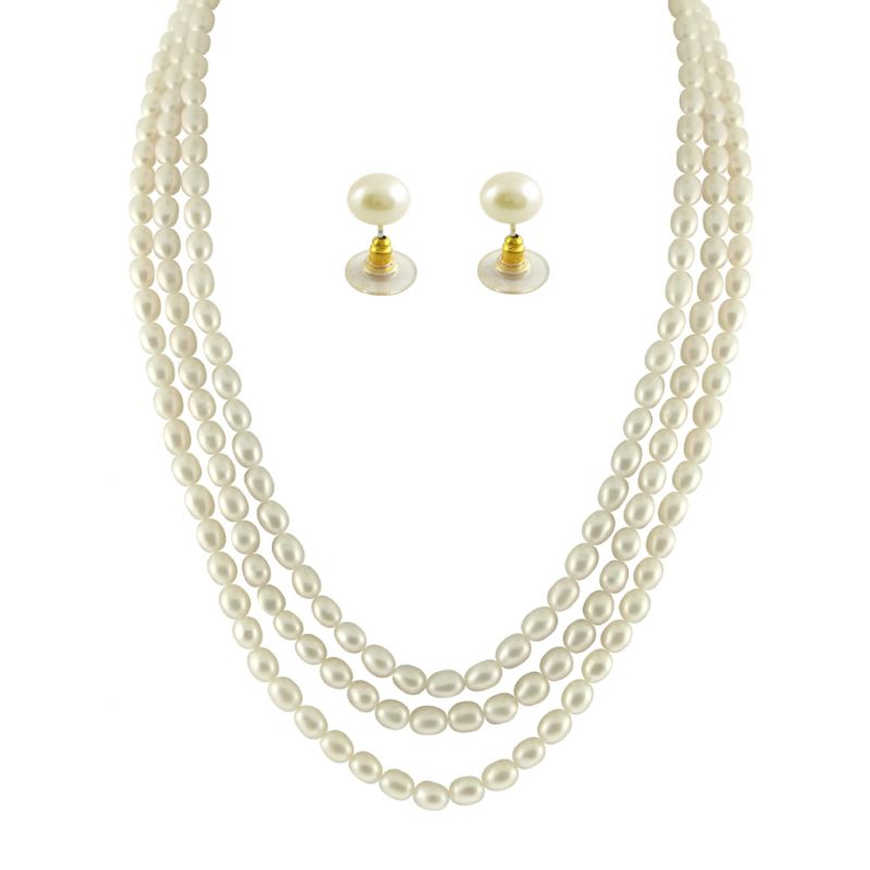 Buy Jpearls 3 String Oval Pearl Necklace online